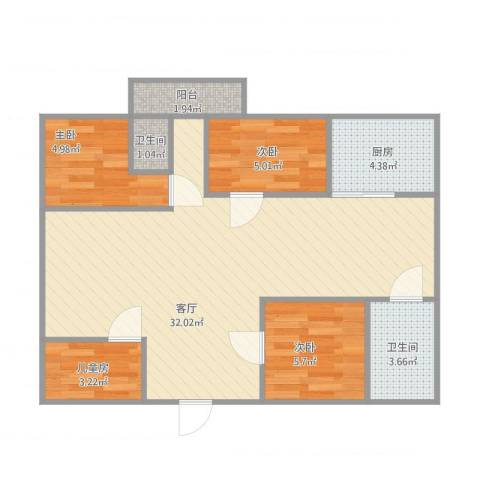 商业大厦4室1厅2卫1厨85.00㎡户型图