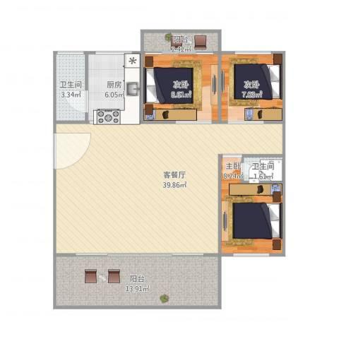 罗村花苑401110方3室1厅2卫1厨122.00㎡户型图