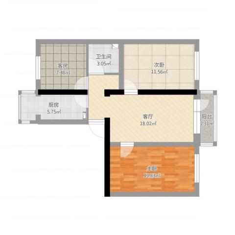 角门13号院3室1厅1卫1厨93.00㎡户型图