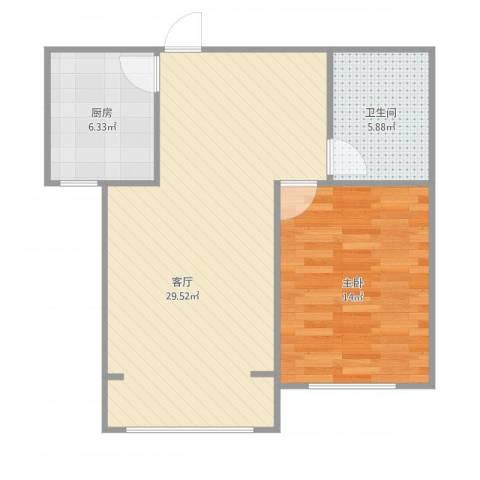 槐花园小区1室1厅1卫1厨74.00㎡户型图
