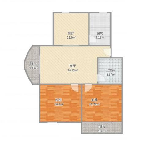育秀九区222室2厅1卫1厨122.00㎡户型图