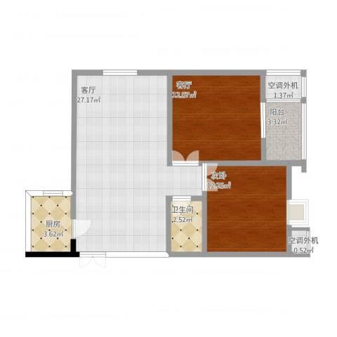鼎新花园1室2厅2卫2厨87.00㎡户型图