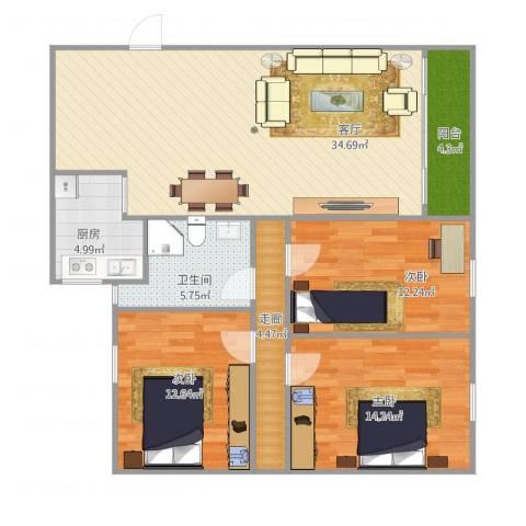 雅居豪庭3室1厅1卫1厨125.00㎡户型图