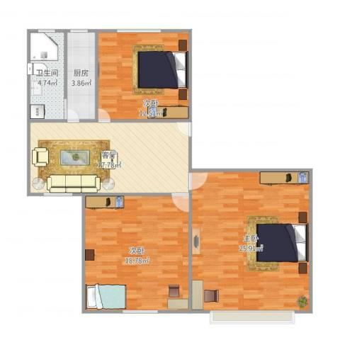 潼港七村3室1厅1卫1厨111.00㎡户型图