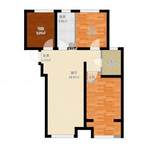 高科绿水东城3室1厅2卫1厨102.00㎡户型图