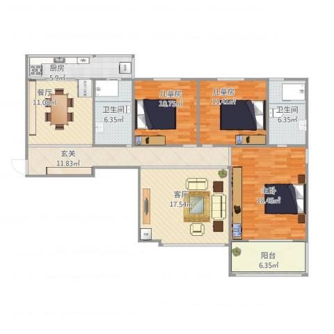 长兴・园湖曲3室2厅2卫1厨139.00㎡户型图