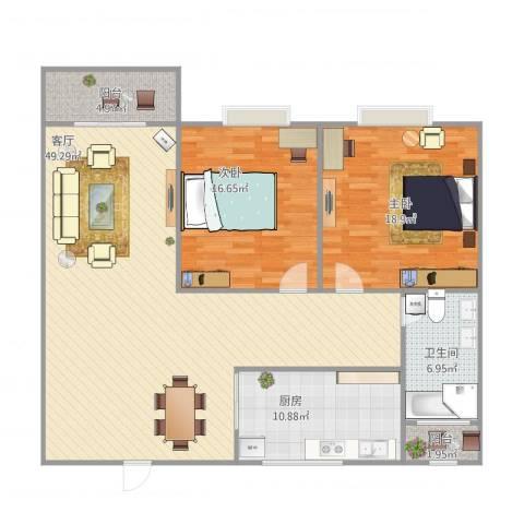海天花园2室1厅1卫1厨146.00㎡户型图