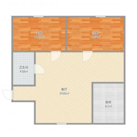 富馨花园2室1厅1卫1厨96.00㎡户型图
