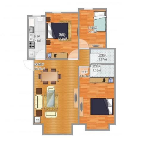 书香苑小区3室1厅2卫1厨94.00㎡户型图