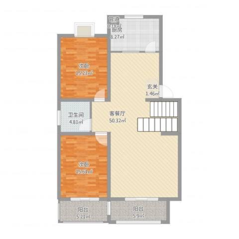 仪征凤来仪花园2室1厅1卫1厨148.00㎡户型图