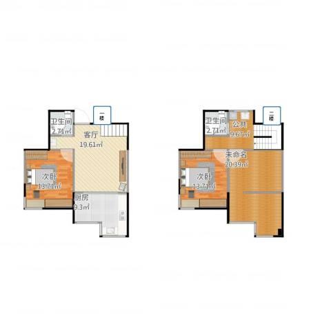 泰安盛世郡2室1厅2卫1厨124.00㎡户型图