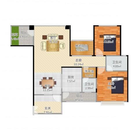 奥克斯广场2室1厅2卫1厨149.00㎡户型图