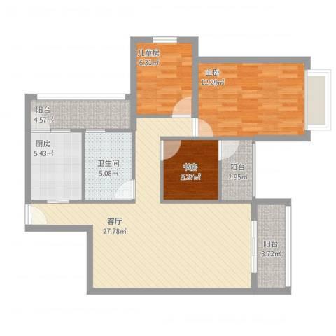 珠海中山雅居乐诺丁山3室1厅1卫1厨105.00㎡户型图