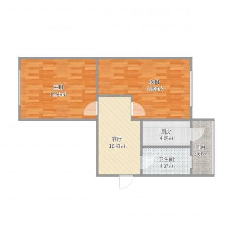 中山北里2室1厅1卫1厨73.00㎡户型图