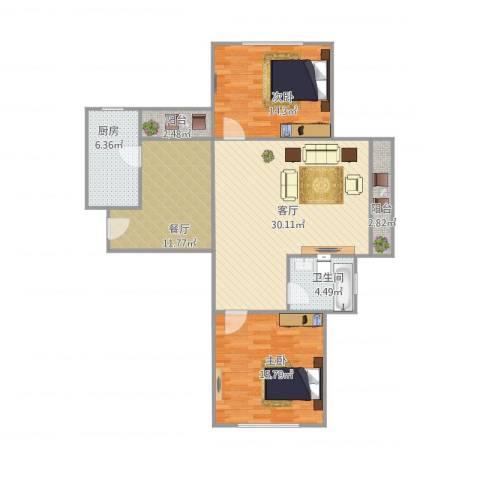 星晓家园2室2厅1卫1厨116.00㎡户型图
