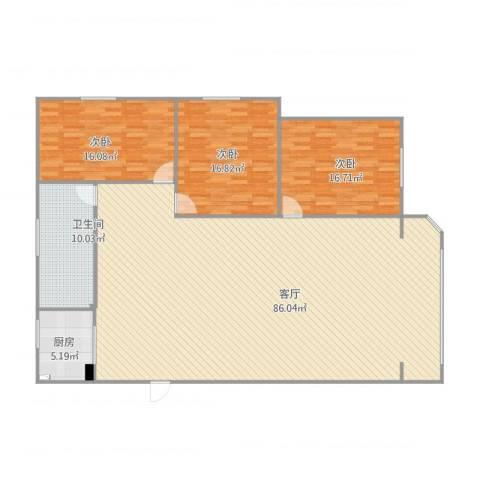 五星公寓3室1厅1卫1厨198.00㎡户型图