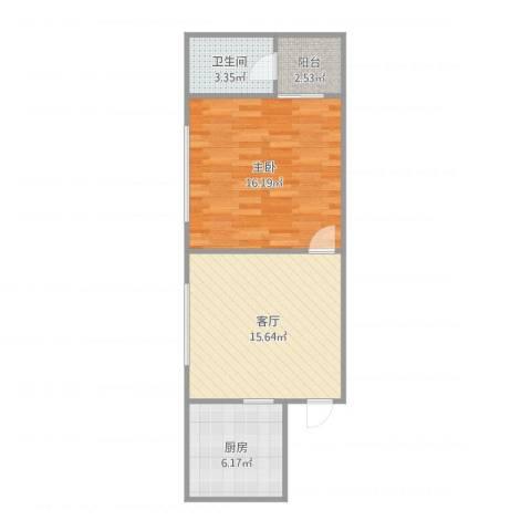 都市广场-单栋9111室1厅1卫1厨59.00㎡户型图