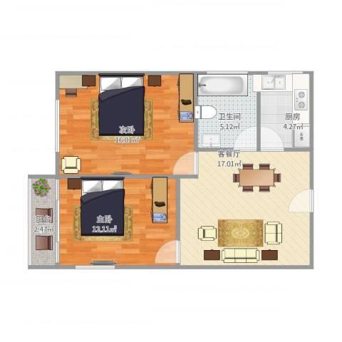 由由二村2室1厅1卫1厨77.00㎡户型图