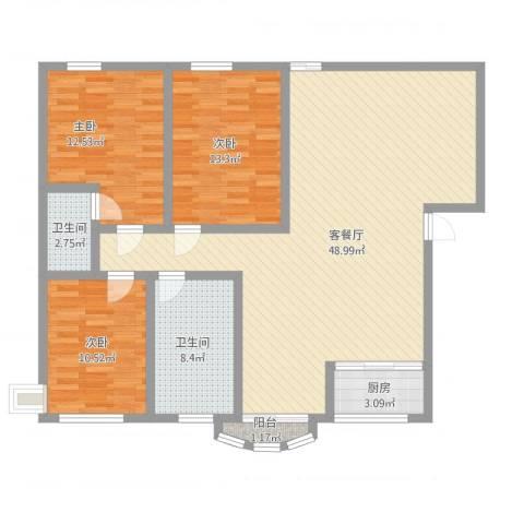 今日家园二期3室1厅2卫1厨144.00㎡户型图