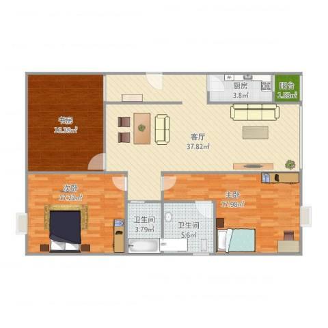 维多利亚公寓C13室1厅2卫1厨139.00㎡户型图