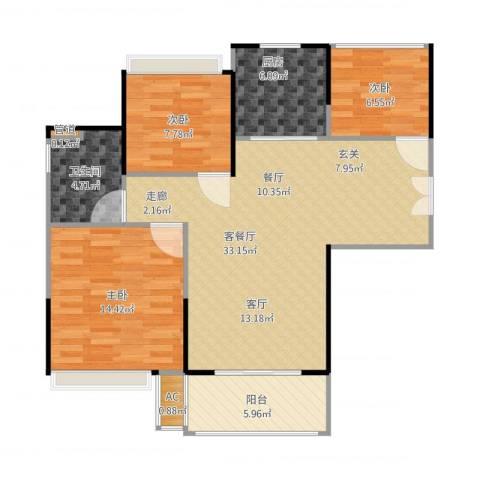 朗诗未来街区3室1厅3卫1厨107.00㎡户型图