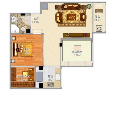 紫荆苑1室1厅1卫1厨68.00㎡户型图