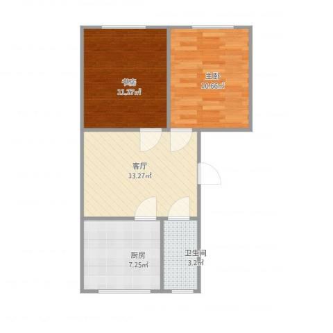 玉函路单位宿舍2室1厅1卫1厨62.00㎡户型图