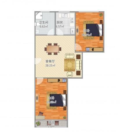 由由二村2室1厅1卫1厨108.00㎡户型图