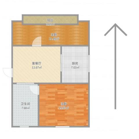 洪庙巷小区2室1厅1卫1厨77.00㎡户型图
