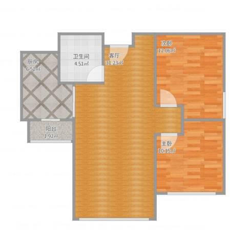 睦华里2室1厅1卫1厨89.00㎡户型图