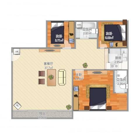 谊东阁3室1厅2卫1厨102.00㎡户型图