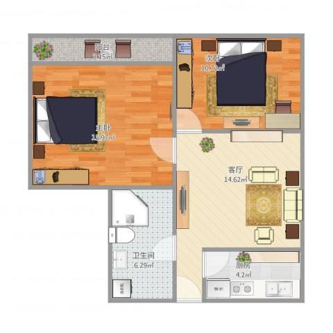 上南七村2室1厅1卫1厨75.00㎡户型图