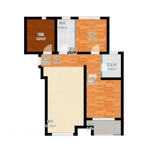 高科绿水东城3室1厅1卫1厨102.00㎡户型图
