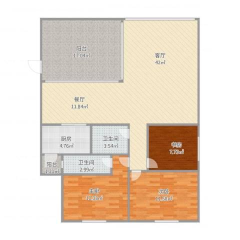 碧云天3室1厅2卫1厨126.00㎡户型图