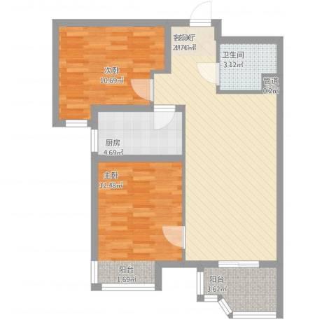 天玺国际2室1厅1卫1厨85.00㎡户型图