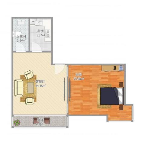 中远行家02室1室1厅1卫1厨65.56㎡户型图