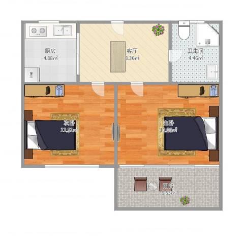 潍坊五村2室1厅1卫1厨66.00㎡户型图