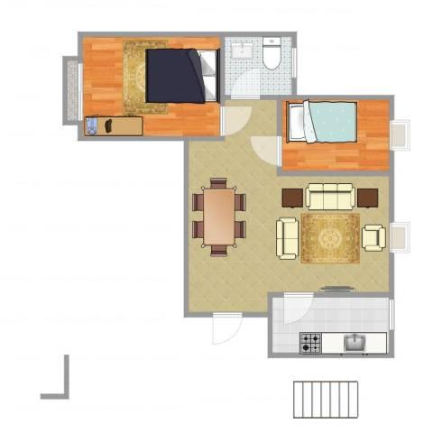 铁静苑三期2室1厅1卫1厨60.00㎡户型图
