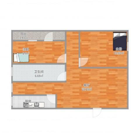 江滨大厦2室1厅1卫1厨70.04㎡户型图
