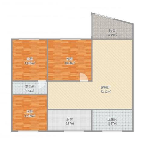 梅花山庄3室1厅2卫1厨159.00㎡户型图