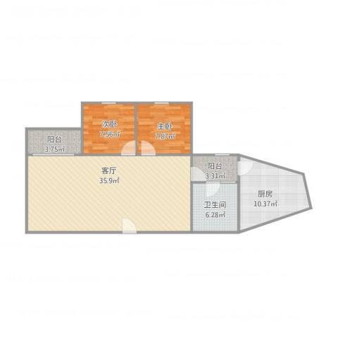 丽江花园德字楼2室1厅1卫1厨100.00㎡户型图