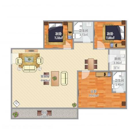 谊东阁3室1厅2卫1厨119.00㎡户型图