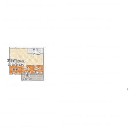 三箭平安苑3室1厅1卫1厨87.00㎡户型图