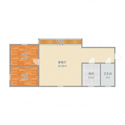朗晴居2室1厅1卫1厨94.00㎡户型图