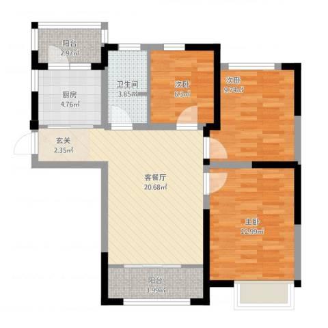金厦龙第新城3室1厅1卫1厨95.00㎡户型图