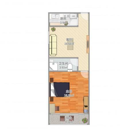莲溪六村1室1厅1卫1厨64.00㎡户型图