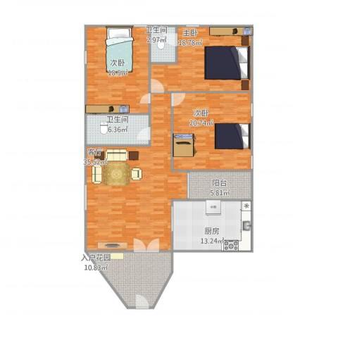鸿泰溪城3室1厅2卫1厨177.00㎡户型图