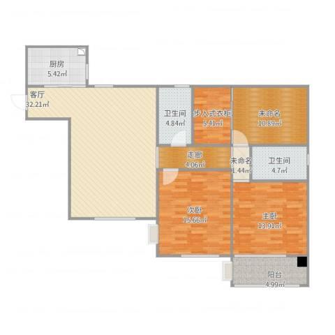 龙府北郡2室1厅2卫1厨140.00㎡户型图