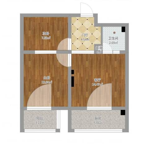 天人名仕乐居2室1厅2卫1厨74.00㎡户型图