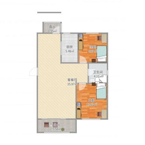 滨湖家园2室1厅1卫1厨102.00㎡户型图